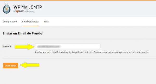 Enviar un correo de prueba a través de WP Mail SMTP