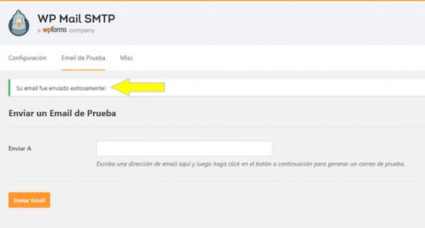 El correo electrónico de prueba de WP Mail SMTP fue enviado con éxito